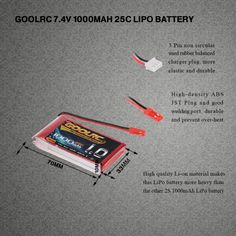 GoolRC 2S 7.4V 1000mAh 25C Li-Po Battery with JST Plug for RC Car Boat Aircraft Drone