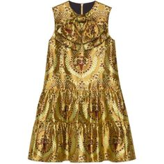 Gucci Gold Floral Jacquard Dress (€2.860) ❤ liked on Polyvore featuring dresses, short dress, gold, floral mini dress, ruffle dress, gold metallic dresses, short floral dresses and short gold dresses