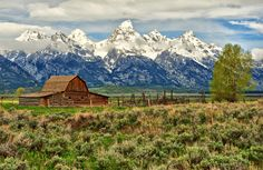 © Jeff R. Clow. Mormon homesteader John Moulton's barn in Jackson Hole, Wyoming.