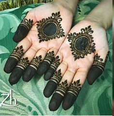 Henna Design on Palm Images Gallery - Henna Design on Palm Picture Gallery For Girl with Cute Design. new best henna design with various cute henna Round Mehndi Design, Mehndi Designs Finger, Finger Henna Designs, Mehndi Designs Book, Modern Mehndi Designs, Mehndi Design Pictures, Mehndi Designs For Beginners, Mehndi Designs For Girls, Mehndi Designs For Fingers