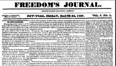 "Freedom's Journal (New York, New York), 16 March 1827, page 1. Read more on the GenealogyBank blog: ""'Freedom's Journal': The 1st African American Newspaper Published in America."" https://blog.genealogybank.com/freedoms-journal-the-1st-african-american-newspaper-published-in-america.html"