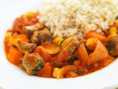 Vegetable and lamb casserole with wholegrain rice