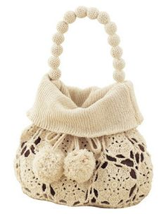 Pomposhki and beads. Cozy crochet and knitting bag Mode Crochet, Crochet World, Crochet Lace, Crochet Handbags, Crochet Purses, Magia Do Crochet, Diy Sac, Knitted Bags, Crochet Gifts