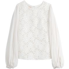 Giambattista Valli Floral Lace Blouse ($882) ❤ liked on Polyvore featuring tops, blouses, white, long sleeves, women, floral top, long sleeve blouse, lace blouse, white lace top and floral lace top