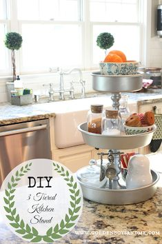 DIY 3 Tiered Kitchen Stand maybe for craft room with mason jars for paint brushes etc. 3 Tier Stand, Tiered Stand, Hacks Diy, Tray Decor, Kitchen Organization, Home Projects, Craft Projects, Kitchen Decor, Kitchen Ideas