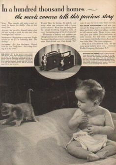 1937 Baby Cloth Diaper Kitten Photo Kodak Movie Camera Vintage Magazine Print Ad | eBay