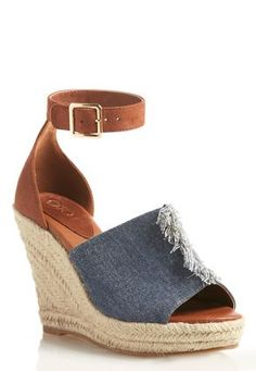 6ee7a12dad37 Cato Fashions Frayed Denim Ankle Cuff Wedges  CatoFashions Wedge Heels