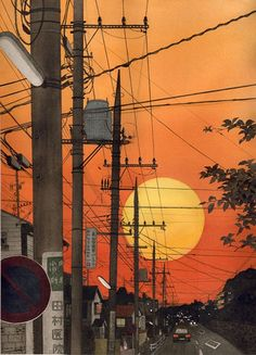 sunset in Japan Aesthetic Japan, Aesthetic Art, Aesthetic Anime, Sunset Wallpaper, Scenery Wallpaper, Minimal Wallpaper, Cyberpunk Art, Anime Scenery, Art Challenge