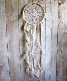 Large Dream Catcher  White  Vintage Lace  Doily by VagaBoundPeople