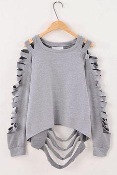 Whole Color Cutout Designed Sweatershirt