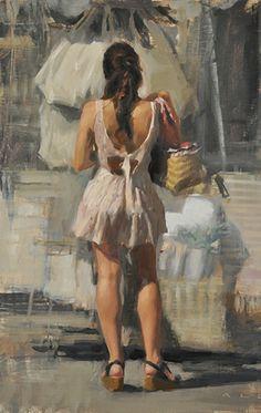 """Appropriation"" - Aldo Balding (British, b. 1960), oil on canvas {figurative #impressionist art standing female woman back cropped painting #loveart} Marketplace!! aldobalding.com"