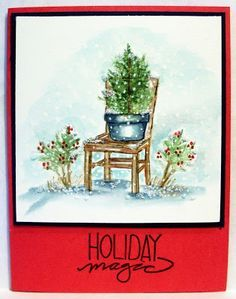 For the Love of Cardmaking: Another Christmas card with Art impression stamps and markers watercolor