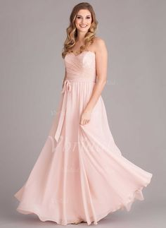 Bridesmaid Dresses - $102.25 - A-Line/Princess Strapless Sweetheart Floor-Length Chiffon Bridesmaid Dress With Lace (0075059184)