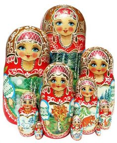 Changing through the year forest landscape is hand painted on this 10 piece Russian babushka nesting doll. Free shipping. Only 1 in stock. Buy today.