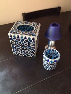 Mosaic Glass Bathroom Accessories, Tissue Box, Toothbrush Holder, Votive Candle