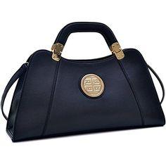 Dasein Flat Bottom Emblem A-Symmetrical Handbag Designer Shoulder Bag w/ Removable Shoulder Strap (black-new)