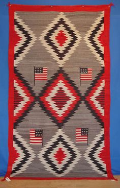 American Flags Pictorial Navajo Rug Circa 1920, Superior Wool And Weave  #AAIA #Navajo