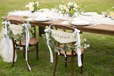 """Jane Austen Wedding Chair Signs, """"My Darling Husband"""" and """"My Darling Wife""""."""