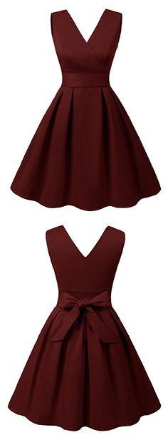 Damen 50s Retro vintage Kleid V-Ausschnitt Partykleid Schwingen Rockabilly
