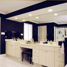 Bathroom Mirror Makeover frame on a big mirror. genius | bathroom ideas | pinterest