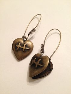 Mended Heart Locket Earrings Broken Hearts, Pisces Horoscope Sign by DoubleDmentia on Etsy
