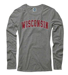 Wisconsin Badgers Women's Heather Grey Tradition Arch Ring Spun Long Sleeve T-Shirt