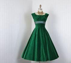 1950s Dress  Vintage 50s Dress  Emerald Green Velvet by jumblelaya, $138.00