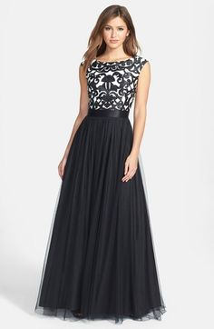 Aidan Mattox Embroidered Bodice Mesh Ballgown available at #Nordstrom