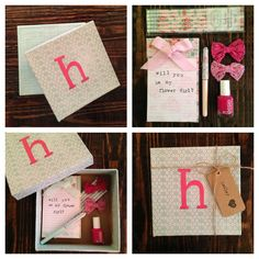 Shabby chic note pad/pencils, crochet hair bows, Essie nail polish, easy scrapbook paper & mod podge initial box. Cute and fun way to ask flower girl.