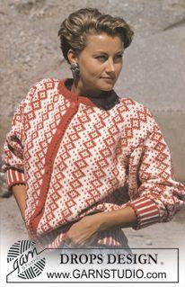 DROPS jakke i Karisma med grafisk nordisk små ruter. Knitting Kits, Fair Isle Knitting, Knitting Patterns Free, Free Knitting, Free Pattern, Crochet Patterns, Drops Design, Diamond Pattern, Cardigans For Women