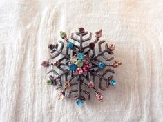 Vintage Snowflakes Brooch with Colorful Rhinestones by GrannysInspirations on Etsy