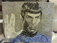 Spock 2/2, 10x8, collage on canvas