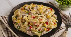 Tuna Fettuccine After just one bite, this fetching dish will get them soaring through high levels of yum! Fettuccine Recipes, First Bite, Few Ingredients, Learn To Cook, Tasty Dishes, Tuna, Pasta Salad, Ph, Cooking