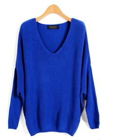 For the upcoming fall season over sized sweaters are a must! By pairing them with a tighter fitting pant or even knit legging you are sure to be comfy, casual, and stylish while walking through the park or lounging at home. Blue Sweaters, Sweaters For Women, Knit Sweaters, Oversized Sweaters, Warm Outfits, Cute Outfits, Blue V, Cobalt Blue, Dark Blue