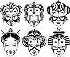 Японский Tsure Noh театральные маски - Стоковая иллюстрация: 12640006