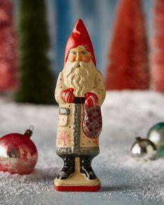 Original A Merry Christmas GeprÄgte Dresdner Pappe Weihnachtsmann Volkskunst Vor 1960