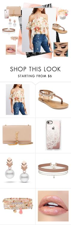 """flower  cvicyctc cyfcic"" by manaur06 ❤ liked on Polyvore featuring Charlotte Russe, Penny Loves Kenny, Yves Saint Laurent, Casetify, Escalier, Miss Selfridge and Accessorize"