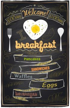 Breakfast cafe Menu Design typography on chalk board vector illustration Chalkboard Restaurant, Blackboard Menu, Chalkboard Art, Menu Restaurant, Chalkboards, Menu Board Design, Menu Design, Cafe Design, Chalk Menu