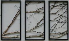 Birch Branch Triptych Wall Hanging by MadeAtTheLake on Etsy, $275.00