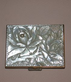 Vintage French Mother Of Pearl Compact by Patrys c. 1965 from barkusfarm on Ruby Lane