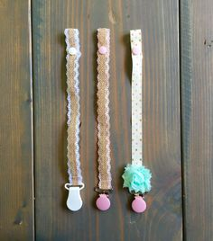 Shabby chic burlap Pacifier clip collection/ by LilyAidenDesigns
