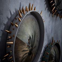 Celestial Convex Mirror - X-Large - Black + Gold - L'Objet Moon Mirror, Convex Mirror, Mirror Art, Antiqued Mirror, Unique Mirrors, Candle Diffuser, Wall Mounted Mirror, Wall Mirrors, Grey And Gold