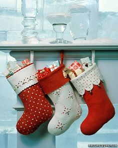 How-to: Jingle Bell Stockings @Martha Stewart: The pierced detailing on these felt stockings -- reminiscent of openwork on creamware china -- is made using decorative hole punches. Practice the patterns on a piece of scrap felt first, since placing holes in correct order is tricky.