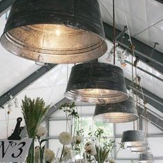 galvanized metal lights! SERIOUSLY! Would love to do this somewhere!