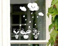 Cloud rain and little plants vinyl decal by AllotropeOfCarbon, $5.00