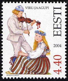 Eesti kirjamark Viru-Jaagupi rahvariietega. Folk costume - - Estonia Viru-Jaagupi region. Folk Costume, Costumes, Contemporary Decorative Art, Europe, Love Stamps, Small Words, Textiles, Naive Art, Work Inspiration