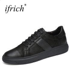 Ifrich jarní léto pravá kůže pánská obuv krajka nahoru černá kráva kožená  luxusní teniska pohodlný muž ba9bd56be44
