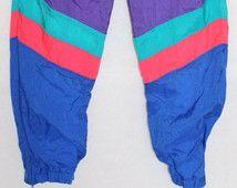 Echte Vintage 80er Jahre Männer Nylon Track Wind Anzug Hose alte Schule frisch Prince Hop Hop Größe Large