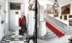 Ledreborg Familjens privata entré får sin speciella karaktär genom ett mönstrat golv. Stentrappan är gjord 1743–1744.