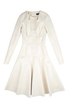 Jessica Vinyl Long Sleeve Dress In Cream by Jonathan Saunders for Preorder on Moda Operandi